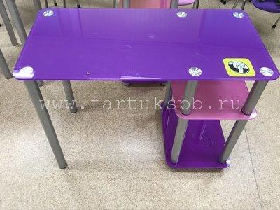 Стеклянный стол с полками