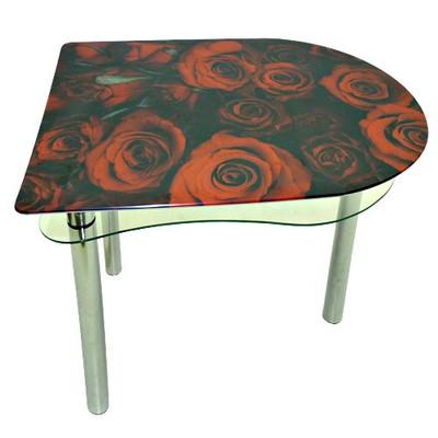 стеклянный стол розы