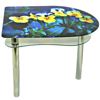 стеклянный стол желтые цветы