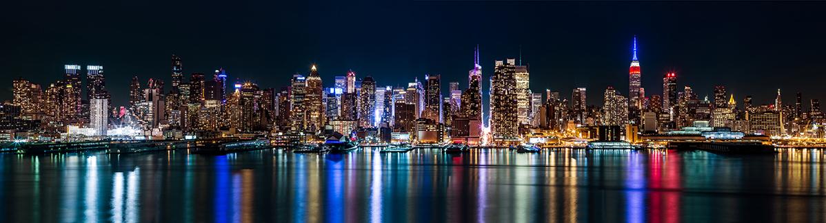 New York midtown panorama by night